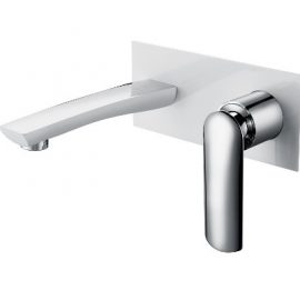 Celine Wall Basin Mixer White and Chrome